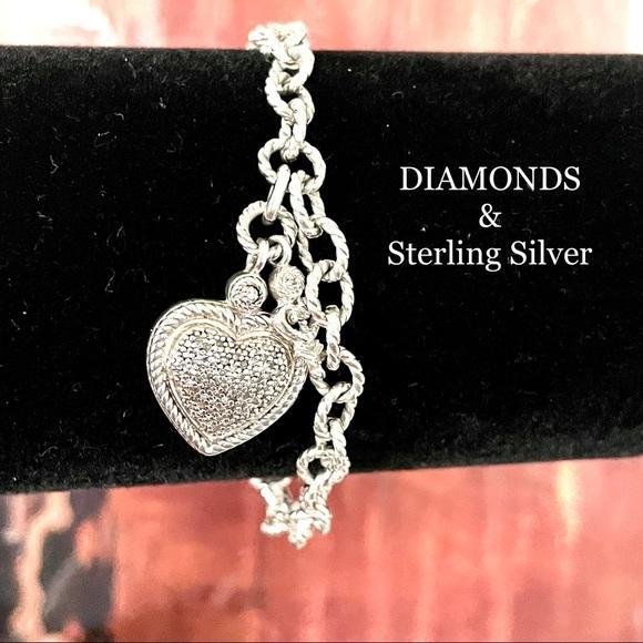 STERLING SILVER DIAMOND HEART KEY CHARM BRACELET